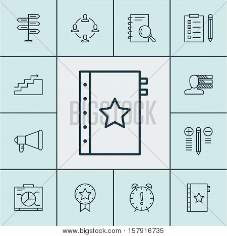 Set Of Project Management Icons On Analysis, Announcement And Collaboration Topics. Editable Vector
