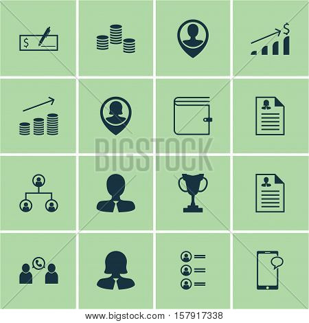 Set Of Management Icons On Tree Structure, Coins Growth And Job Applicants Topics. Editable Vector I