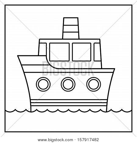 Outline cartoon ship design cruising on water suitable for coloring in for kids black and white vector illustration