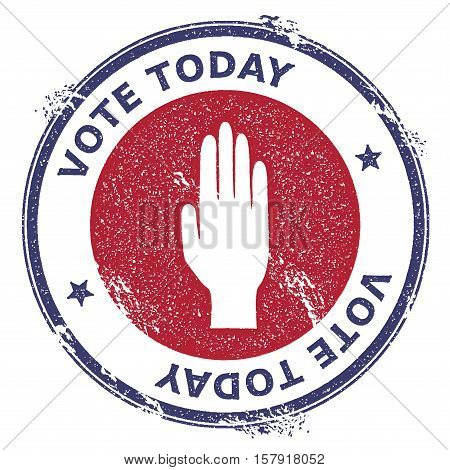 Grunge Raised Hand Rubber Stamp. Usa Presidential Election Patriotic Seal With Raised Hand Silhouett