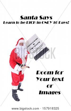 Santa Claus plays with Matches. Santa has a Giant Book of Matches. Santa Claus strikes a match. Isolated on white with room for your text. Santa is a pyromaniac.