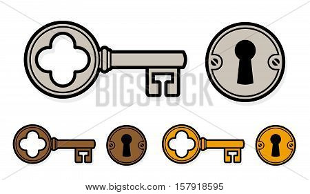 Vintage style cartoon key with lock and round escutcheon in three different colors for brass bronze and silver or steel isolated on white