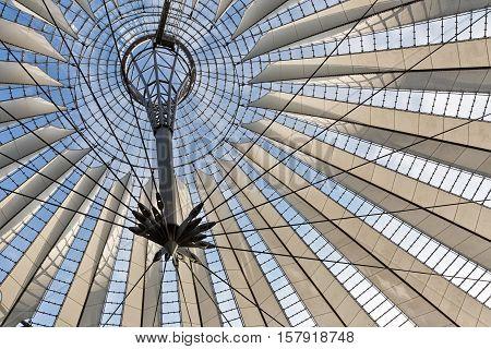 BERLIN GERMANY - JULY 2015: Glass ceiling of Sony Center on July 26 2014 in Potsdamer Platz in Berlin Mitte