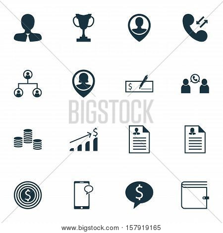 Set Of Human Resources Icons On Business Goal, Money And Employee Location Topics. Editable Vector I