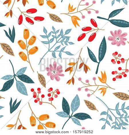 doodle  autumn pattern. Seamless vector doodle hand drawn pattern with flowers, brunches, leaves for wallpapers, scrapbooking, web page backgrounds,textile