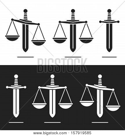 Scales of justice on a sword silhouette icon in a set of three with equilibrium and imbalance conceptual of power and misuse or abuse of power vector illustration