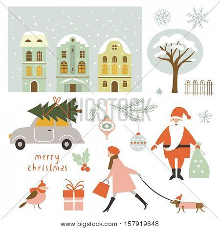 Set of Christmas vector elements and illustrations