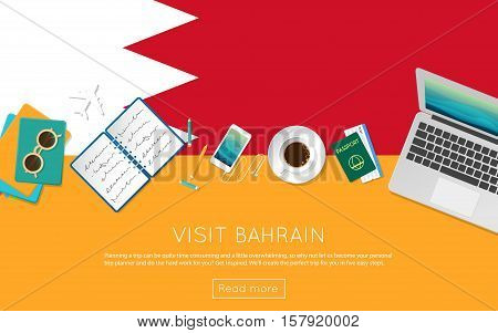 Visit Bahrain Concept For Your Web Banner Or Print Materials. Top View Of A Laptop, Sunglasses And C