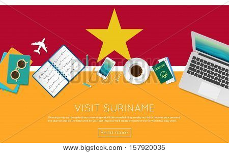 Visit Suriname Concept For Your Web Banner Or Print Materials. Top View Of A Laptop, Sunglasses And