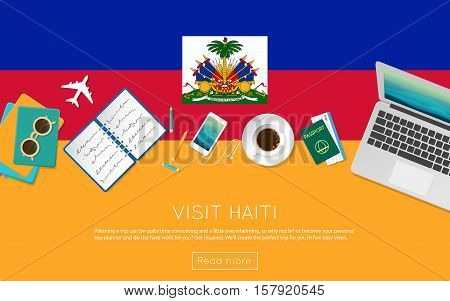 Visit Haiti Concept For Your Web Banner Or Print Materials. Top View Of A Laptop, Sunglasses And Cof