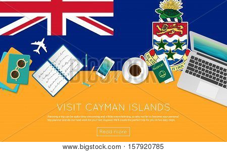 Visit Cayman Islands Concept For Your Web Banner Or Print Materials. Top View Of A Laptop, Sunglasse