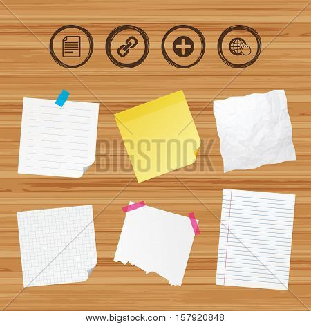 Business paper banners with notes. Plus add circle and hyperlink chain icons. Document file and globe with hand pointer sign symbols. Sticky colorful tape. Vector