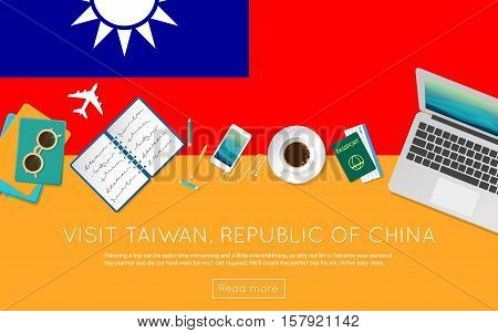 Visit Taiwan, Republic Of China Concept For Your Web Banner Or Print Materials. Top View Of A Laptop