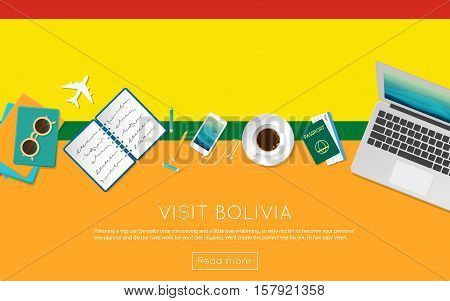 Visit Bolivia Concept For Your Web Banner Or Print Materials. Top View Of A Laptop, Sunglasses And C
