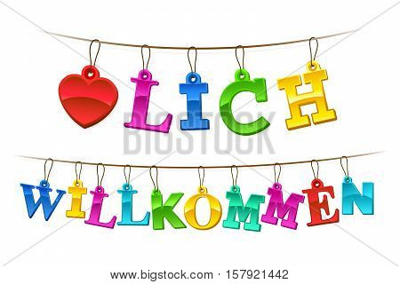 Herzlich willkommen welcome sign in German with a symbolic red heart and letters formed of hangings rainbow colored tags on a string forming a greeting banner or garland vector illustration on white