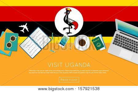 Visit Uganda Concept For Your Web Banner Or Print Materials. Top View Of A Laptop, Sunglasses And Co