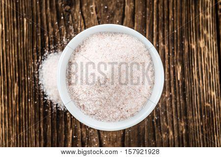 Himalayan Salt On Wooden Background (selective Focus)