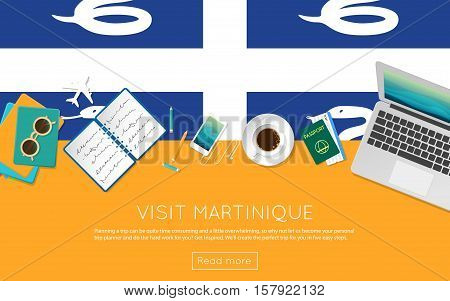 Visit Martinique Concept For Your Web Banner Or Print Materials. Top View Of A Laptop, Sunglasses An