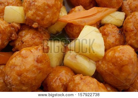 Chinese Food. Sweet And Sour Meatballs With Pineapple