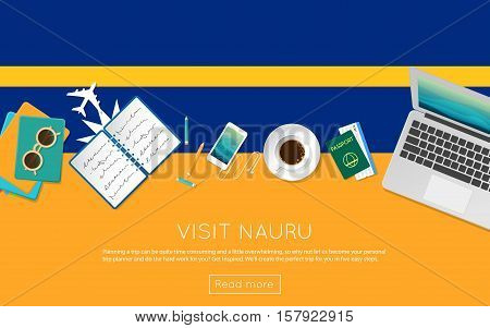 Visit Nauru Concept For Your Web Banner Or Print Materials. Top View Of A Laptop, Sunglasses And Cof