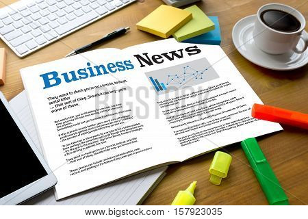 News Business Communication Marketing Talk , Modern Business Workplace With Business News Website On