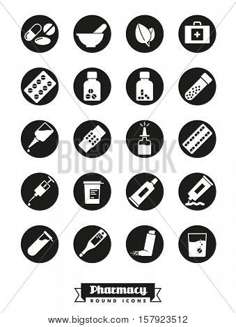 Pharmaceutics industry icon set. Collection of solid black round pharmacy and medicine glyph icons