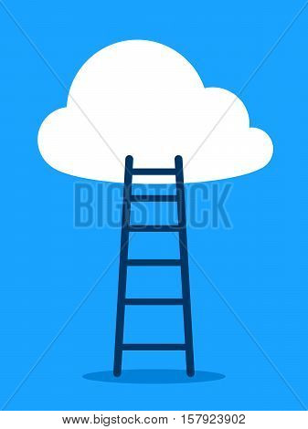 Vector of ladder leading to cloud against blue sky
