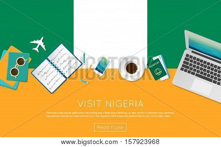 Visit Nigeria Concept For Your Web Banner Or Print Materials. Top View Of A Laptop, Sunglasses And C