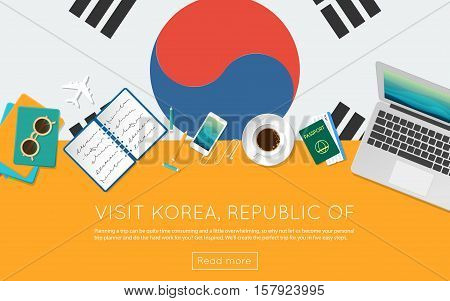 Visit Korea, Republic Of Concept For Your Web Banner Or Print Materials. Top View Of A Laptop, Sungl