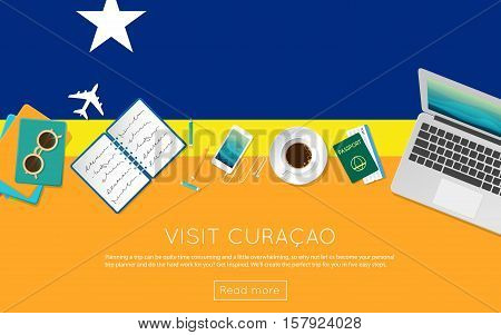 Visit Curacao Concept For Your Web Banner Or Print Materials. Top View Of A Laptop, Sunglasses And C