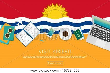 Visit Kiribati Concept For Your Web Banner Or Print Materials. Top View Of A Laptop, Sunglasses And