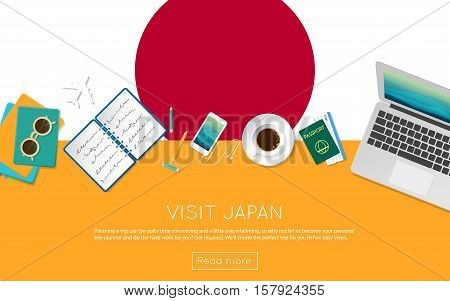 Visit Japan Concept For Your Web Banner Or Print Materials. Top View Of A Laptop, Sunglasses And Cof
