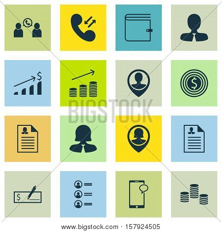 Set Of Human Resources Icons On Business Goal, Money And Cellular Data Topics. Editable Vector Illus
