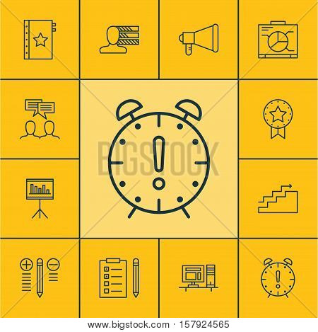 Set Of Project Management Icons On Growth, Announcement And Time Management Topics. Editable Vector