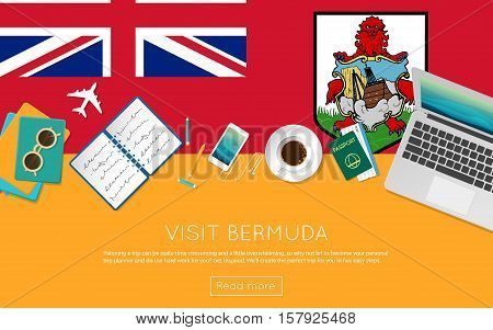 Visit Bermuda Concept For Your Web Banner Or Print Materials. Top View Of A Laptop, Sunglasses And C