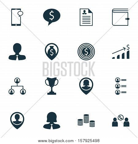 Set Of Management Icons On Job Applicants, Tree Structure And Money Topics. Editable Vector Illustra