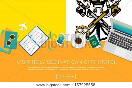 Visit Holy See (vatican City State) Concept For Your Web Banner Or Print Materials. Top View Of A La