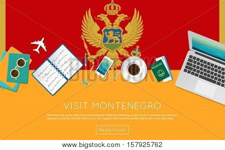 Visit Montenegro Concept For Your Web Banner Or Print Materials. Top View Of A Laptop, Sunglasses An