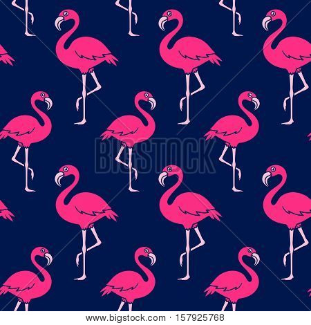Seamless vector pattern of pink flamingo on blue background