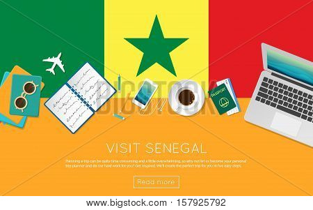 Visit Senegal Concept For Your Web Banner Or Print Materials. Top View Of A Laptop, Sunglasses And C