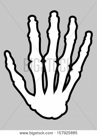 Illustrative outline icon of hand skeleton over gray background