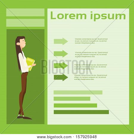 Business Woman Hold Paper Document Contract Financial Graph Arrow Background Flat Vector Illustration