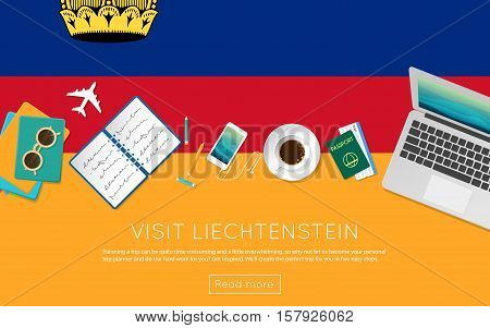 Visit Liechtenstein Concept For Your Web Banner Or Print Materials. Top View Of A Laptop, Sunglasses