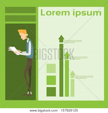 Business Man Read Paper Document Contract Financial Graph Arrow Up Background Flat Vector Illustration