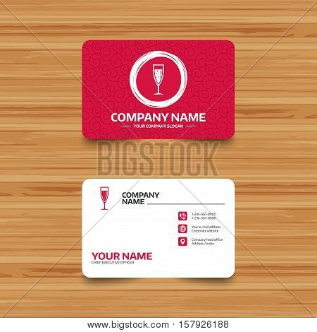 Business card template with texture. Glass of champagne sign icon. Sparkling wine with bubbles. Celebration or banquet alcohol drink symbol. Phone, web and location icons. Visiting card  Vector