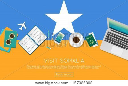 Visit Somalia Concept For Your Web Banner Or Print Materials. Top View Of A Laptop, Sunglasses And C