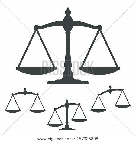 Vector illustration of silhouette weight scales collection representing justice isolated on white