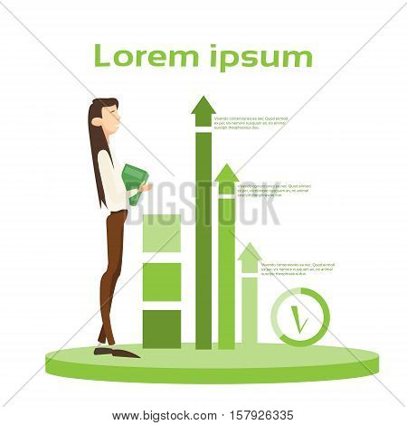 Business Woman Hold Paper Document Contract Financial Graph Arrow Up Background Flat Vector Illustration