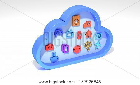 Cloud symbol with differently colored internet of things icons inside IOT concept 3D illustration poster