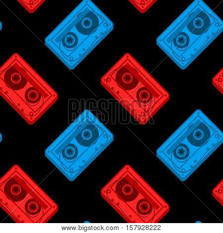 Seamless vector pattern of red and blue tape cassettes over black background